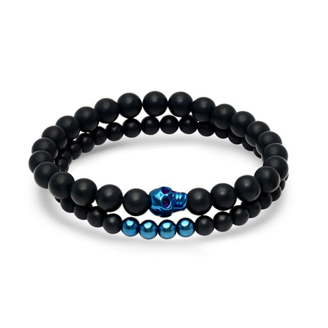 Lava Bead Bracelet + IP Skull // Set of 2