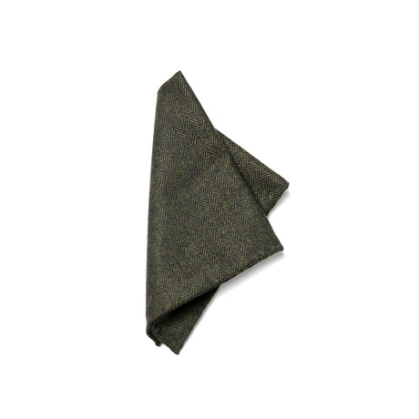 Curie Pocket Square // Grey + Green