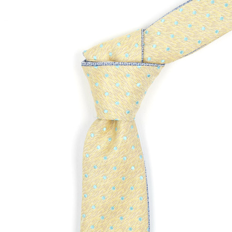 Reversible Tie // Muted Yellow + Dotted Teal