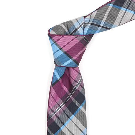 Reversible Tie // Light Blue + Fuchsia Plaid
