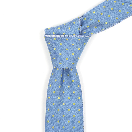 Reversible Tie // Muted Blue + Dotted Yellow