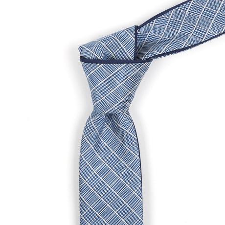 Reversible Tie // Navy + White Micro-Plaid