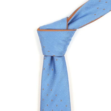 Reversible Tie // Powder Blue + Orange Dotted