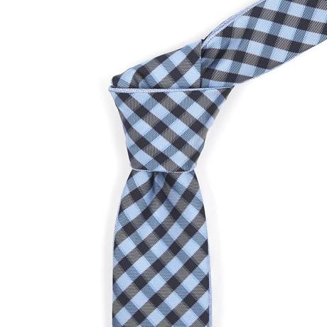 Reversible Tie // Powder Blue + Medium Blue Checkered