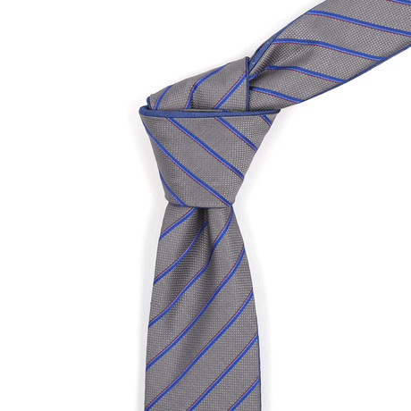 Reversible Tie // Heather Charcoal + Steel Blue Striped