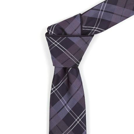 Reversible Tie // Plum + White Plaid Reversible Tie