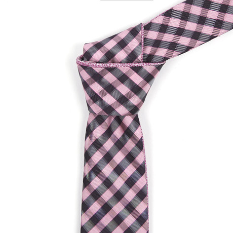 Reversible Tie // Black + Pink Checkered