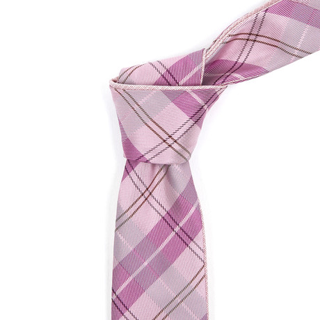Reversible Tie // Pink + Magenta Plaid