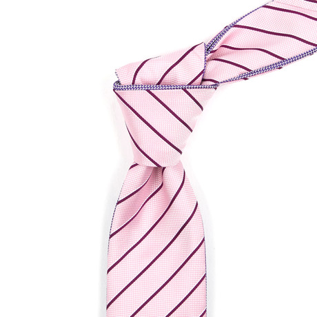 Reversible Tie // Blush Pink + Red Striped