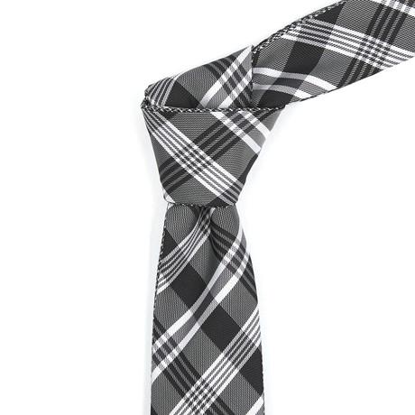 Reversible Tie // Black + White Plaid
