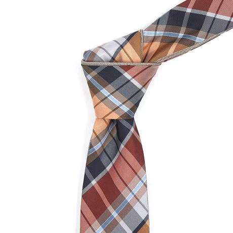 Reversible Tie // Orange + Navy Plaid