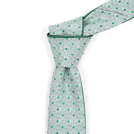 Muted Green with Polka Dots Reversible Tie
