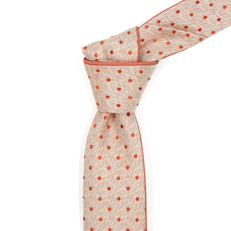 Reversible Tie // Muted Orange Polka Dotted