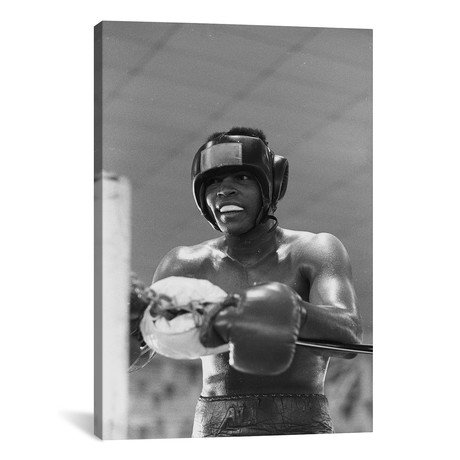 "Head Gear Wearing Muhammad Ali In The Corner Between Rounds (26""W x 18""H x 0.75""D)"