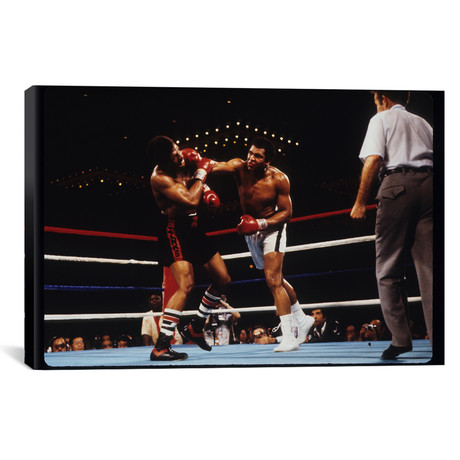 "Overhand Right Connects // February 15th, 1978 // Muhammad Ali Enterprises (26""W x 18""H x 0.75""D)"