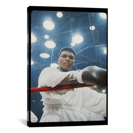 "Pre-Fight Corner Shot Of A Young, Robed Muhammad Ali (26""W x 18""H x 0.75""D)"