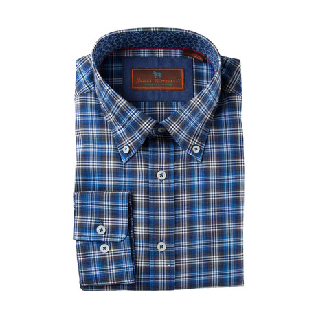 Woven Button Down Shirt // Blue + Gray (S)