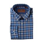 Woven Button Down Shirt // Blue + Gray (S)