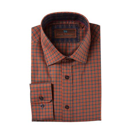 Woven Spread Collar Shirt // Rust Plaid (XS)
