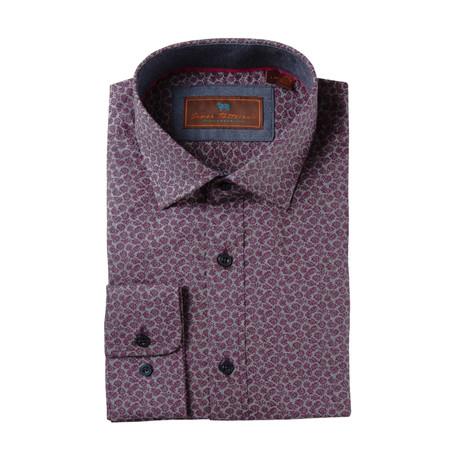 Woven Spread Collar Shirt // Red Paisley