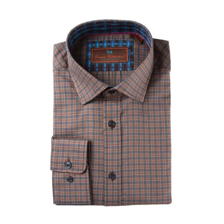Woven Spread Collar Shirt // Brown Plaid
