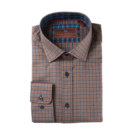 Woven Spread Collar Shirt // Brown Plaid (XS)