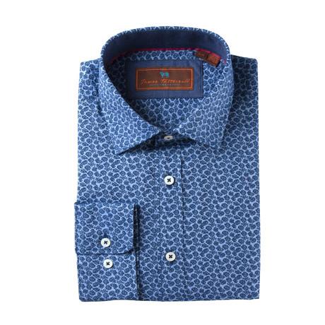 Woven Spread Collar Shirt // Blue Paisley (XS)