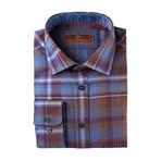 Woven Spread Collar Shirt // Blue + Rust Fade (XS)