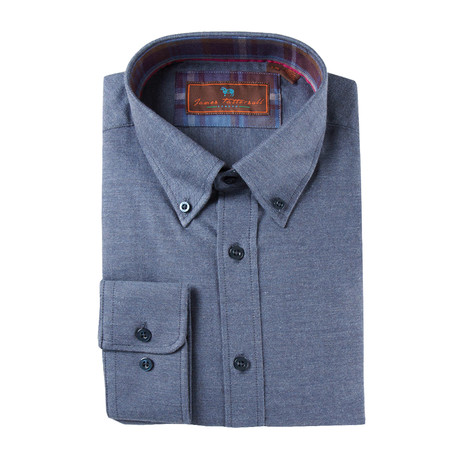 Woven Button Down Shirt // Navy
