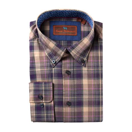Woven Button Down Shirt // Brown + Tan Plaid (XS)