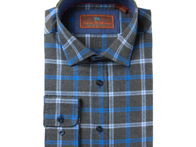 Photo of James Tattersall European Shirting Woven Spread Collar Shirt // Blue + Gray Plaid (M) by Touch Of Modern