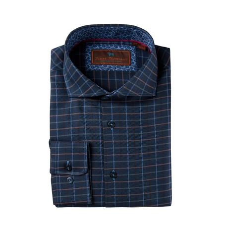 Woven Cutaway Collar Shirt // Dark Blue Grid