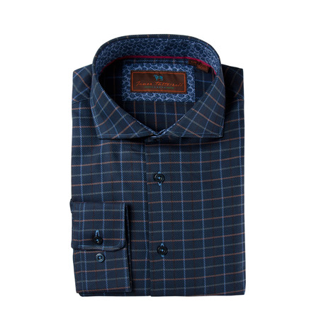 Woven Cutaway Collar Shirt // Dark Blue Grid (XS)