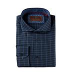 Woven Cutaway Collar Shirt // Dark Blue Grid (S)