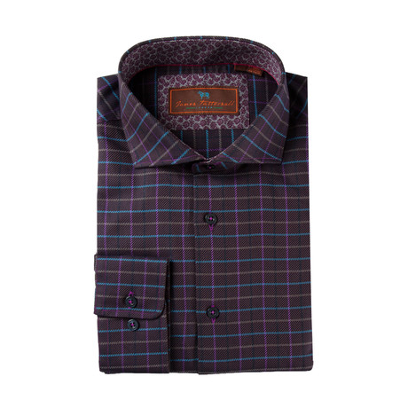 Woven Cutaway Collar Shirt // Purple Grid (XS)