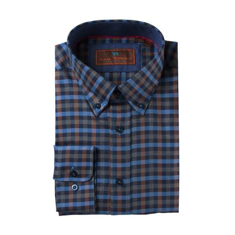 Woven Button Down Shirt // Blue + Rust Plaid (XS)
