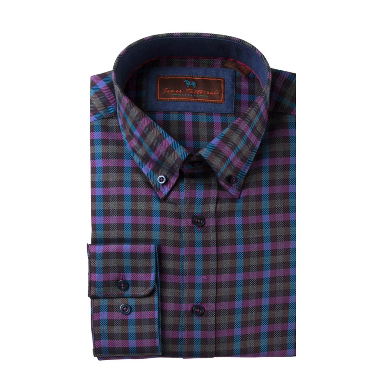 Woven button down shirt purple blue plaid m bjd for Purple and blue shirt