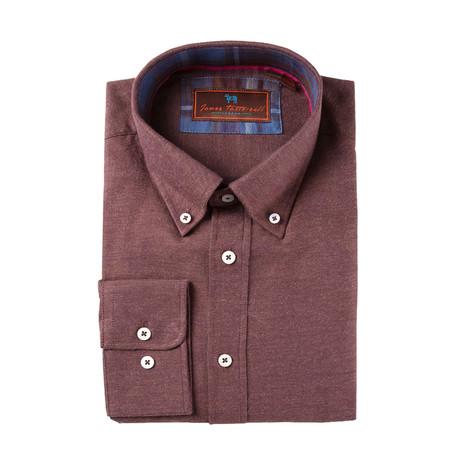 Woven Button Down Shirt // Maroon (M)