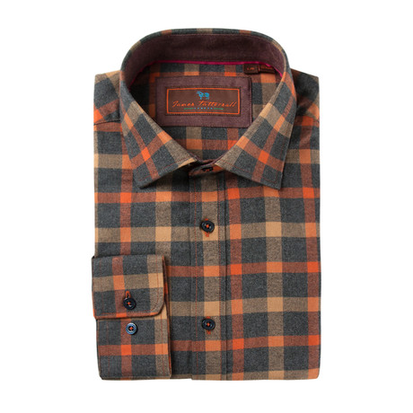 Woven Button Down Shirt // Orange Plaid (XS)