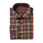 Woven Button Down Shirt // Orange Plaid (XS)