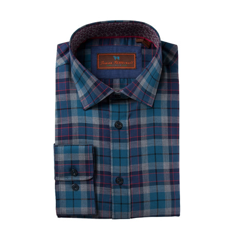 Woven Spread Collar Shirt // Blue Plaid (XS)