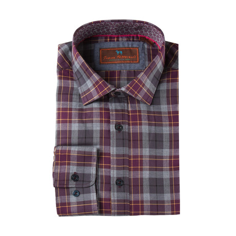 Woven Spread Collar Shirt // Wine Plaid
