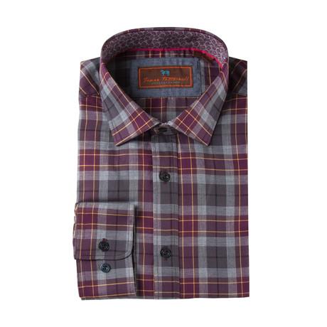 Woven Spread Collar Shirt // Wine Plaid (XS)