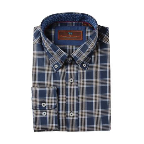 Woven Button Down Shirt // Blue + Tan Plaid (XS)