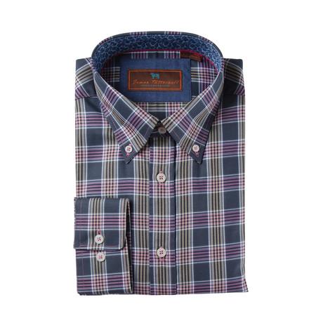 Woven Button Down Shirt // Pink + Tan Plaid (XS)