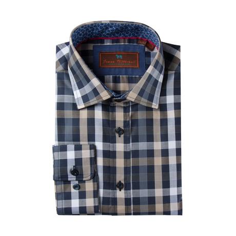 Woven Spread Collar Shirt // Navy + Tan + White Plaid