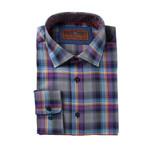 Woven Spread Collar Shirt // Purple + Rust (XS)