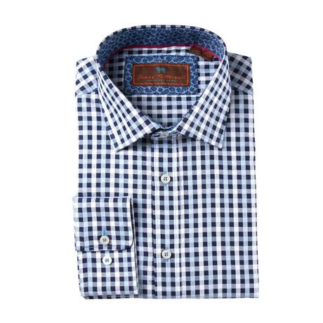 Woven Spread Collar Shirt // Blue + White (XS)
