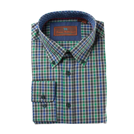 Woven Button Down Shirt // Green + Blue Mini Plaid (XS)