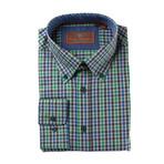 Woven Button Down Shirt // Green + Blue Mini Plaid (XS)